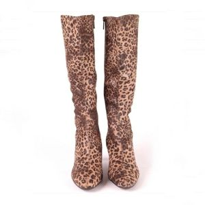 Impo Stretch Leopard Wedge Knee High Boots 7.5